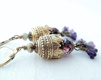 Purple Gold Earrings Exotic Garden Secret Garden Earrings Amethyst Flower Earrings Exotic Gold Statement Earrings Glass Flower Earrings