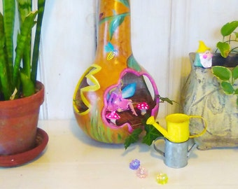 Gourd FAIRY HOUSE or Fly Through Bird Feeder: Diorama Fairy House, Fairy Garden, Ladybugs Bees, Miniature Clay-Garden-Gnome, Clay-Toadstools
