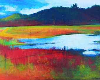 "Colorful Abstract Landscape Print with Matte 16"" x 20"""