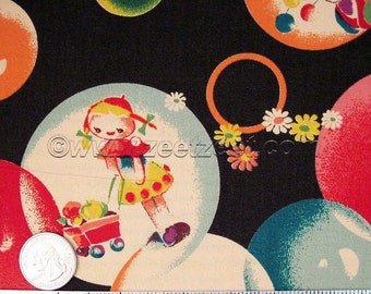 """Rare & Out of Print Kokka RETRO BUBBLES, BLACK Quilt Fabric - Japanese Import by the Precut Fat Quarter 18"""" x 21"""""""