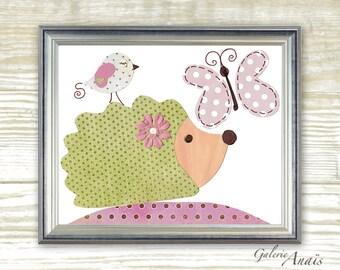 Nursery art print - nursery decor - baby nursery print - kids art - kids room decor - nursery wall art -  Hedgehog - Beauty print