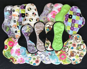 20-pack cloth pad making kit, unfinished, variety pack, prints and colors will vary
