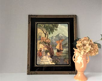 Large Reverse Painted Frame, Vintage Framed Print, Black and Gold Picture Frame, No 1268 Sunny Skies, Art Pub Co Chi, 1930s Wall Decor