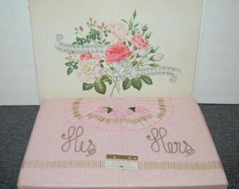 Pink His Hers Vintage Wedding Shower Gift Towel Set Lovely Decorative Ensemble