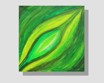 """Peinture abstraite contemporaine à l'acrylique sur toile. """"Feuille estivale"""", petit tableau carré vert. été. cadeau maison. Home decor."""