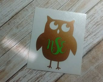 Owl Decal/Owl Monograms/Owl Stickers/Hoot Owl/Decals/Monograms/Yeti Monograms/Wise Owl /Owlet/ Midnighter/Night Owl/HTV Decal