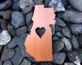 Humboldt County Love Redwood Wood Veneer Laser Cut Sticker