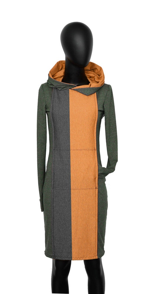 Dress AP2 hoodie ocher sleeve Olive Hooded long 6q5dnR