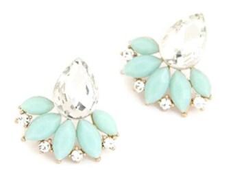 Statement Studs, Mint Earrings, Crystal Earrings, Mint Studs, Crystal Studs, Teardrop Studs