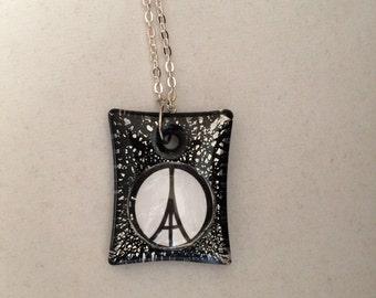 Peace for paris etsy paris france eiffel tower peace sign art glass pendant necklace world peace aloadofball Choice Image