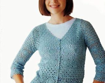 Mesdames gilet crochet mohair bleu /  custom