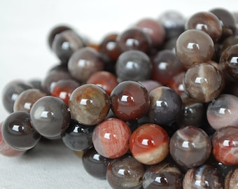 """High Quality Grade A Natural Petrified Wood Agate Semi-precious Gemstone Round Beads - 4mm, 6mm, 8mm, 10mm sizes - Approx 16"""" strand"""