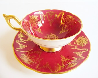 Coalport Red and Gold Teacup and Saucer Vintage Beauty Rare 10130
