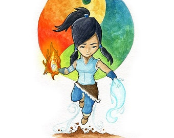 Korra Fan Art Watercolor Print