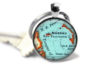 Nassau Bahamas custom map keychain, Men Keychain, couple keychain, anniversary keychain, A141