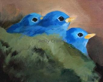 Waiting- Original Acrylic Painting on Canvas- Nest
