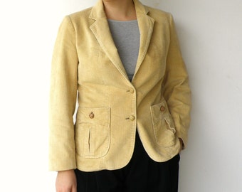 Vintage Corduroy Jacket / 1970s Butter Yellow Jacket / Size M L