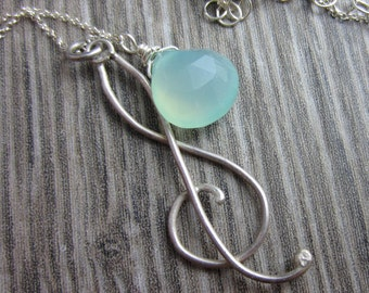 Treble Treble Necklace - Sterling Silver and Aqua Chalcedony Necklace