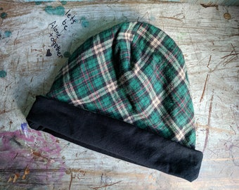 Plaid Hat Boyfriend Slouchy Upcycled Hat Beanie Baggy Hat Slouch Beanie Beanie Oversized Beanie Slouchy Beanie Boho Beanie Knit Slouchy