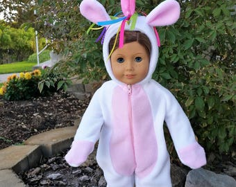 Sally the Unicorn is a handmade unicorn outfit to fit an 18 inch doll such as American Girl and others