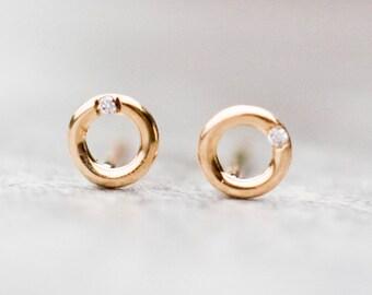 Open circle earrings, 14k gold earrings, Diamond stud earrings, Diamond studs, Geometric earrings, Minimalist Diamond earrings, Gift for Her