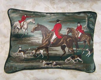 Handmade ENGLISH FOXHUNT Large Horse Pillow Quality Upholstery Fabric Green Tones Color