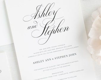 Timeless Calligraphy Wedding Invitations - Deposit