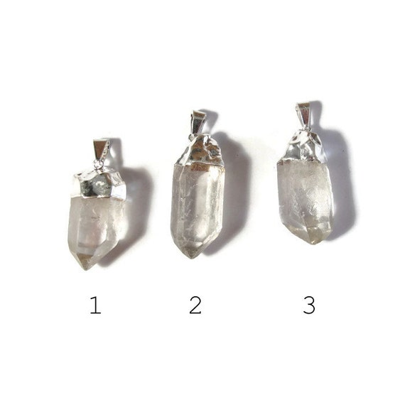 One Rock Crystal Charm, Silver Plated Clear Pendants with Cap and Bail, Natural Gemstone Point for Making Jewelry (C-Qu13a)