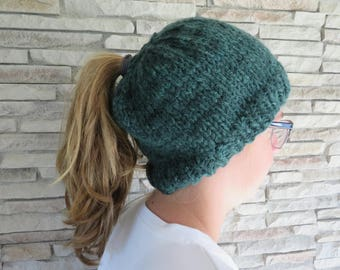 Pony tail hat- Messy Bun Hat-Knit Pony tail hat beanie- Forest Green Hat