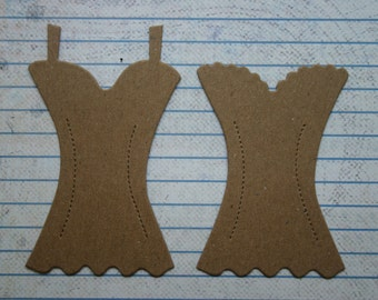 4 bare chipboard die cuts womens basque corset bustier camisole diecuts 2 each of 2 styles