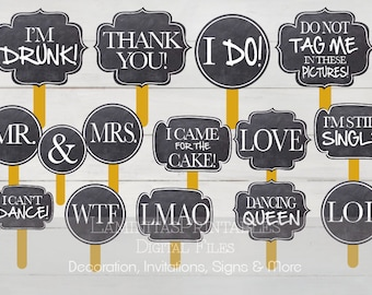Photo booth props, photo prop, photography props, photo props Wedding, wedding photo booth props, photo props printables, wedding signs