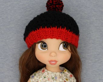 SALE!!!!!!!!Red Black hat beanie for  Disney Animator Doll