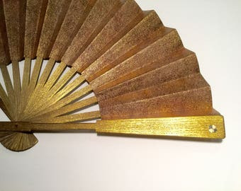 Luxury Gold Hand Fan & 14K Solid Gold Four leaf clover-EXPRESS delivery 3 business days-Free Shipping on Second and Third items in shop