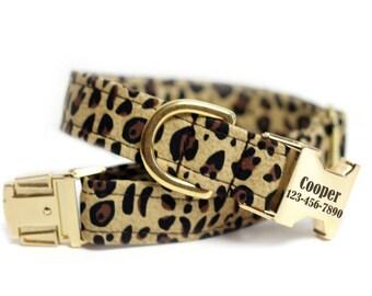 Leopard Print dog collar, Personalized Collar optional, Engraved Collar optional - Leopard Print