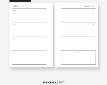 POCKET Size - Weekly Planner - Minimalist l Pocket weekly, pocket printable, filofax pocket, kikkik pocket, lv agenda pm, pocket inserts