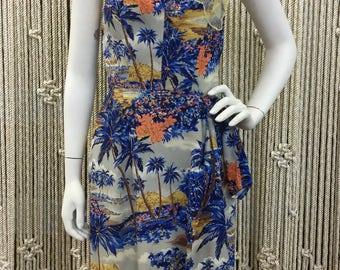 50s beautiful Royal Hawaiian sarong style tiki dress