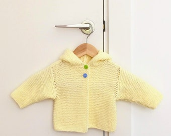 Baby cardigan with hood & cheeky buttons, 100% cotton, bright sunny colours, for all seasons, handy hood for extra warmth or sun protection
