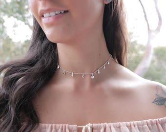 Summer love Choker | 925 Sterling silver choker, boho choker, delicate choker, bohemian, gypsy , silver necklace, boho necklace| Yarah Store