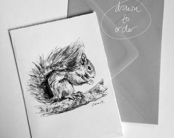 Squirrel Handmade Easter Greeting Card