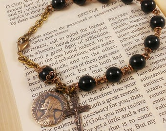 Rugged Black Onyx Rosary Bracelet with St Benedict medal