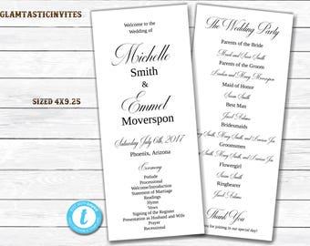 Tea Length Wedding Program, Wedding Program Template, INSTANT DOWNLOAD, You Edit, Ceremony Program Template, Wedding Program, Template, DIY