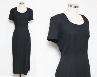 Black Maxi Formal Dress // 80s Asymmetrical Dress // Side Button Detail Princess Seam Short Sleeve Side Seam Maggy London Size 12 Medium