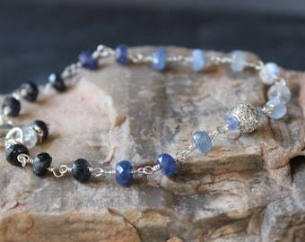 Sapphire Bracelet, September Birthstone, Blue Sapphire Bracelet, Ombre Bracelet, Gemstone Bracelet