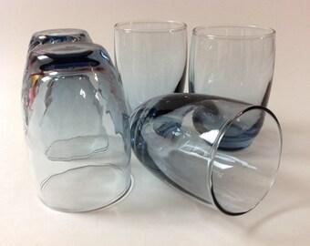 Vintage Libbey Blue Swirl Juice Glasses, Set Of 5, Small Blue-Grey Retro Glassware