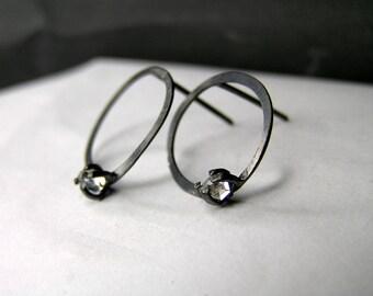 Minimalist hoop stud earrings with herkimer diamonds.