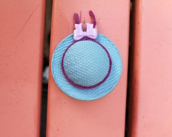 Brooch vintage blue and purple Hat 70's, perfect condition, retro rockabilly chic