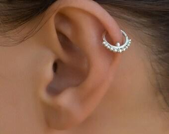 Silver tragus earring. tragus hoop. daith ring. tiny hoop earring. tragus jewelry. tiny earrings. helix earring. cartilage earring.