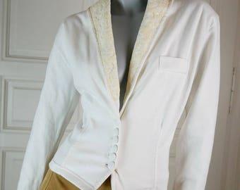 Portuguese Vintage 1980s White Blazer Women's, White Cream Lace Jacket, Fitted Blazer w Shoulder Pads, European Blazer: Size 10 US, 14 UK