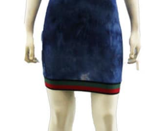 Blue Tie Dye Dress with Hood - Blue Green Band Designer Styled - Mini Women Ladies