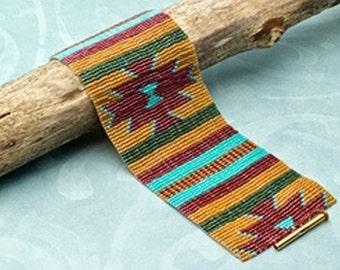 Serape Cuff Bracelet - Loom or 1 Drop Odd Peyote Bead Pattern